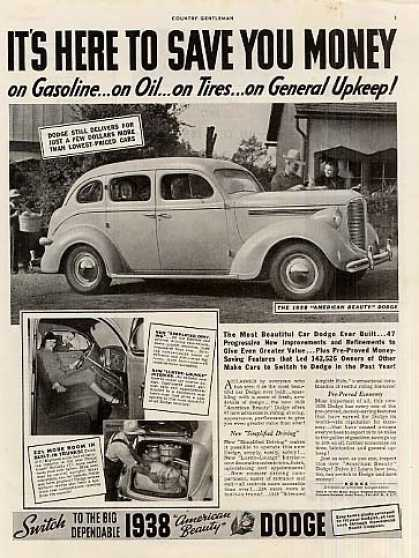 "Dodge Car Ad ""It's Here To Save... (1938)"