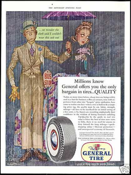 Mens Suit Bus Stop Rain Great General Tire (1941)