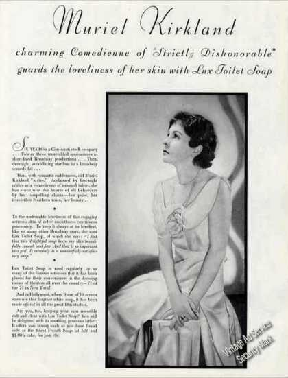 Muriel Kirkland Photo Comedienne Lux Soap (1930)