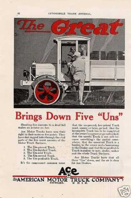 Ace Motor Trucks Ad 2 Page (1919)