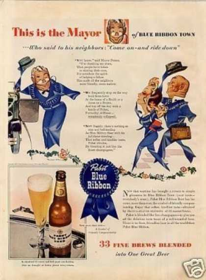"Pabst Blue Ribbon Beer Ad ""This Is the Mayor... (1943)"