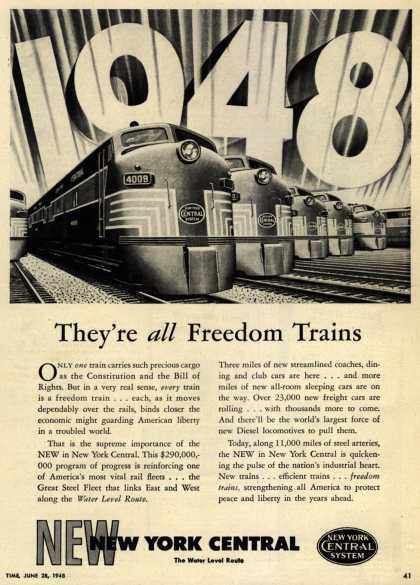 New York Central System's Freedom Trains – They're all Freedom Trains (1948)