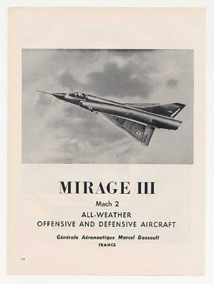 '60 Marcel Dassault Mirage III Mach 2 Aircraft Photo (1960)