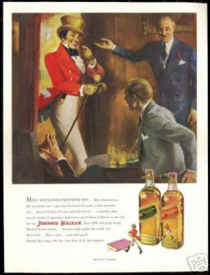 Johnnie Walker Scotch Vintage Print Art (1950)