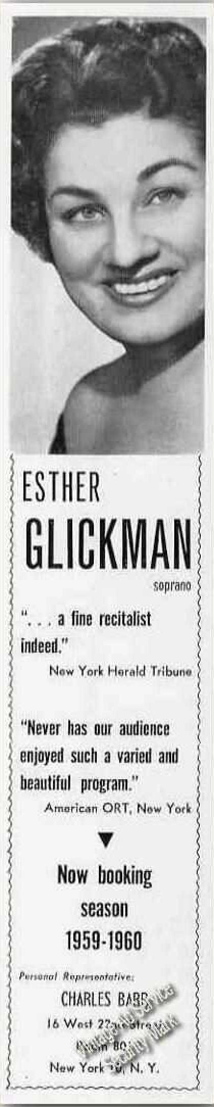 Esther Glickman Photo Soprano Booking (1959)
