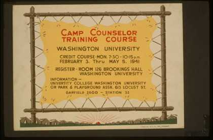 Camp counselor training course, Washington University. (1936)