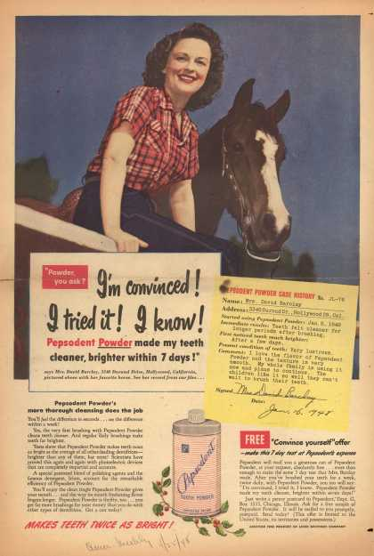 Lever Brothers Company's Tooth Powder – I'm convinced! I tried it! I know (1948)