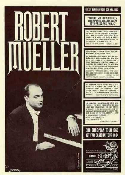 Robert Mueller Pianist Collectible Booking (1963)
