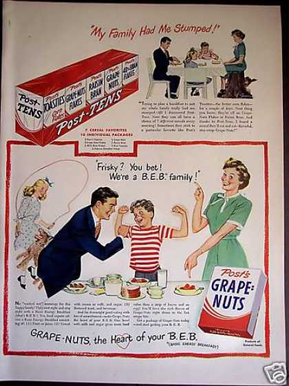 Post Grape Nuts Tens 10 Pack Cereal Family Art (1949)