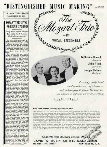 The Mozart Trio Vocal Ensemble Rare Booking (1951)