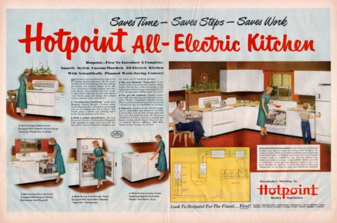 Hotpoint Electric Kitchen Stove Cabinet 1950