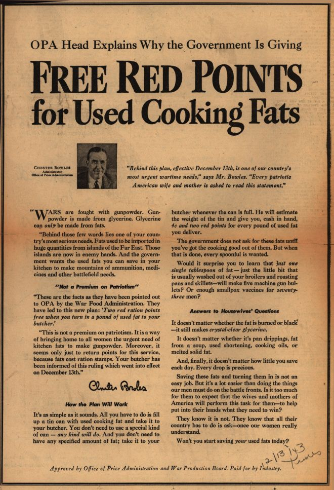 Office Of Price Administration And War Production Boardu0027s Cooking Fats U2013  OPA Head Explains Why The