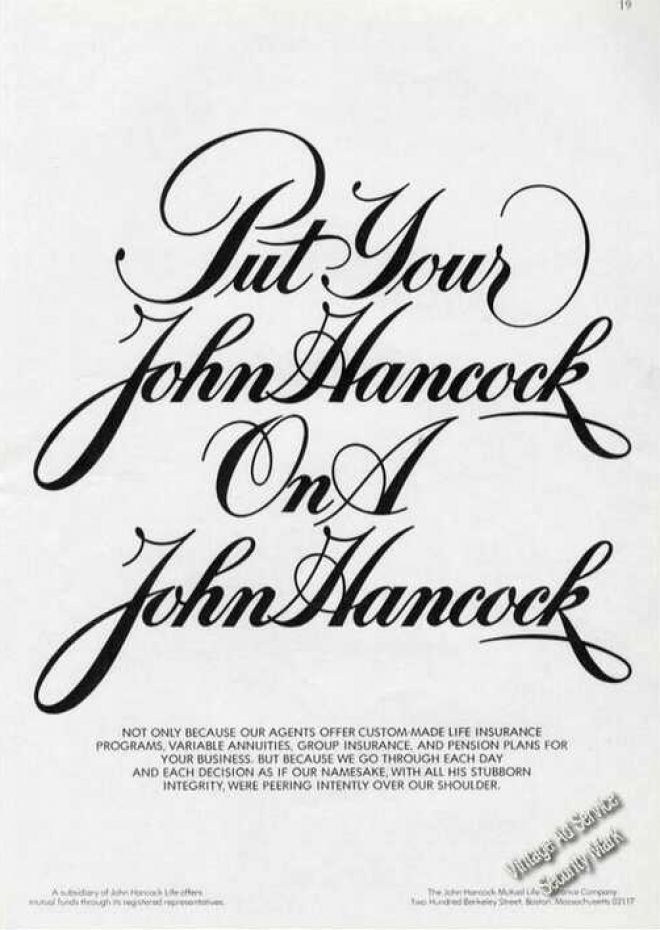 put your john hancock on a john hancock  1973