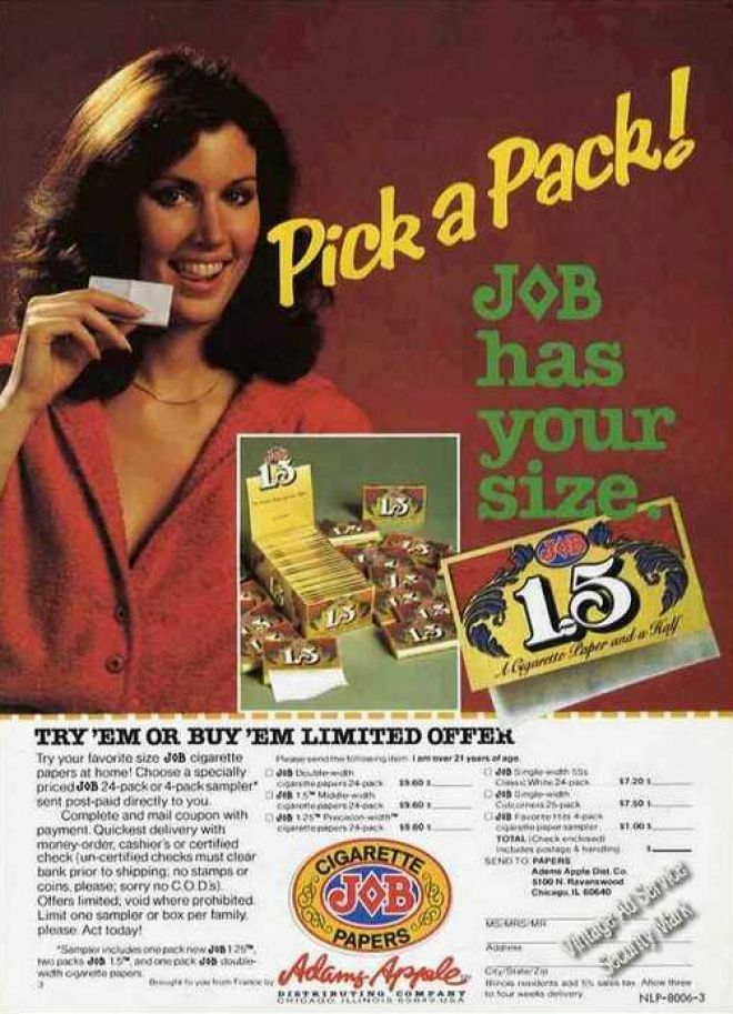 Job Cigarette Papers Has Your Size 1980
