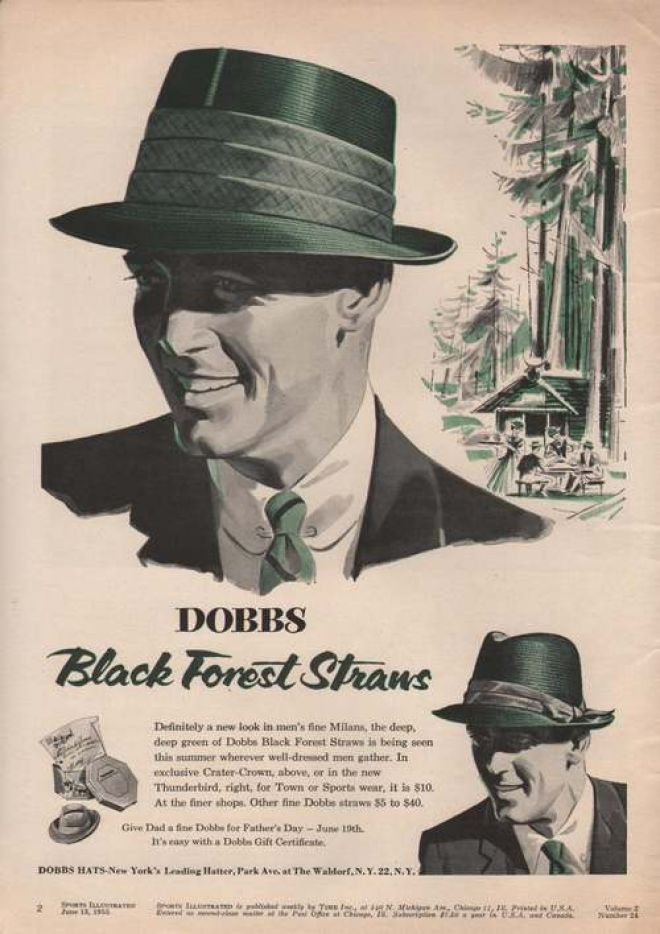 Dobbs Black Forest Straws Mens Hat 1955