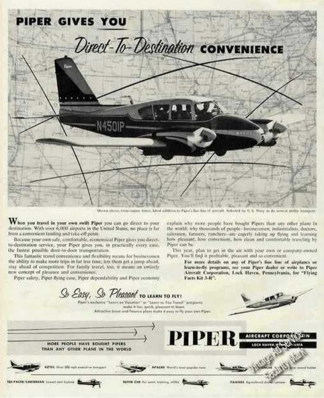 Piper Aztec Photo Direct To Desti 1960