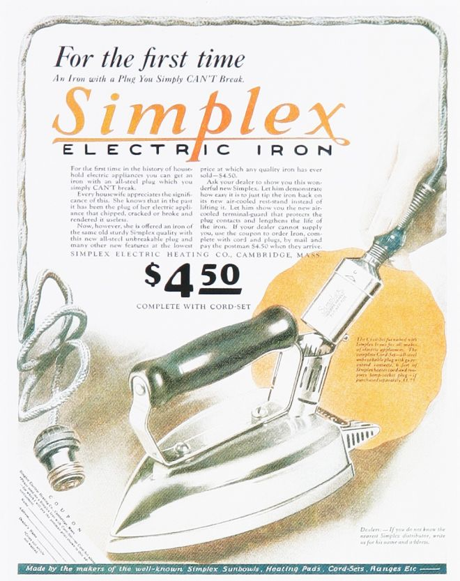 Electric Iron 1920s ~ Vintage household ads of the s page
