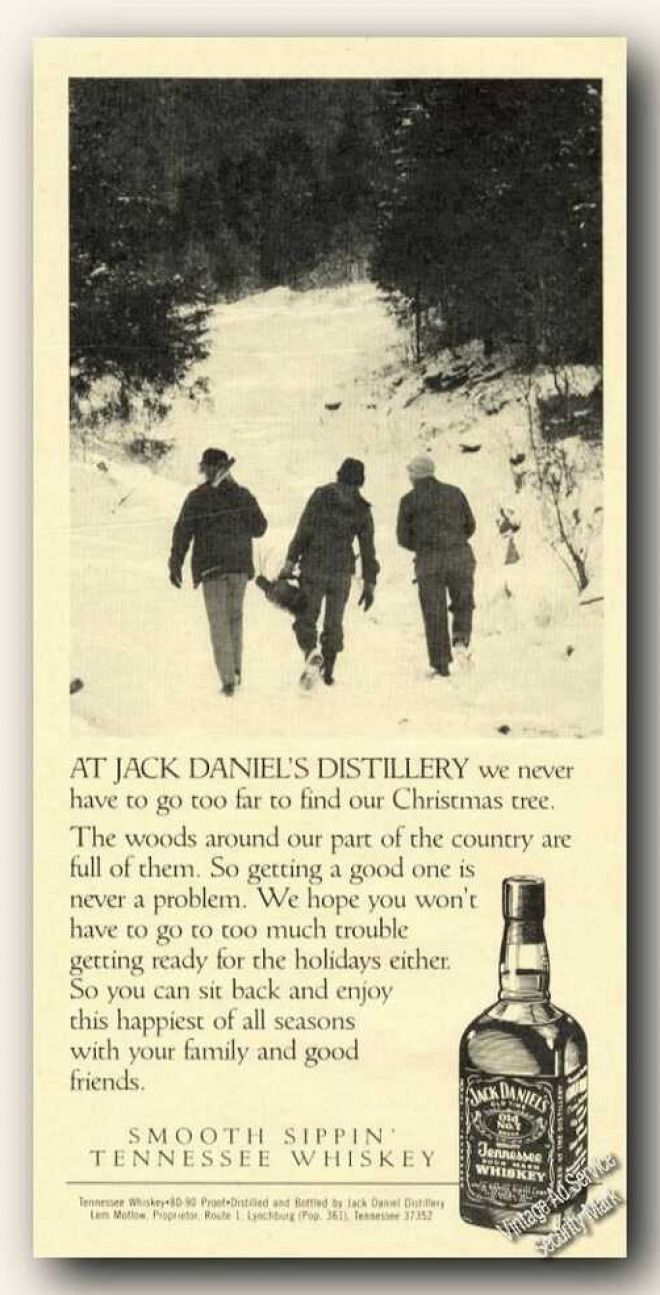 vintage drinks advertisements of the s page  jack daniel s christmas tree from near woods 1986