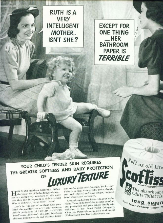 Scottissue Toilet Paper Ad Pretty Mothers & Baby (1938)