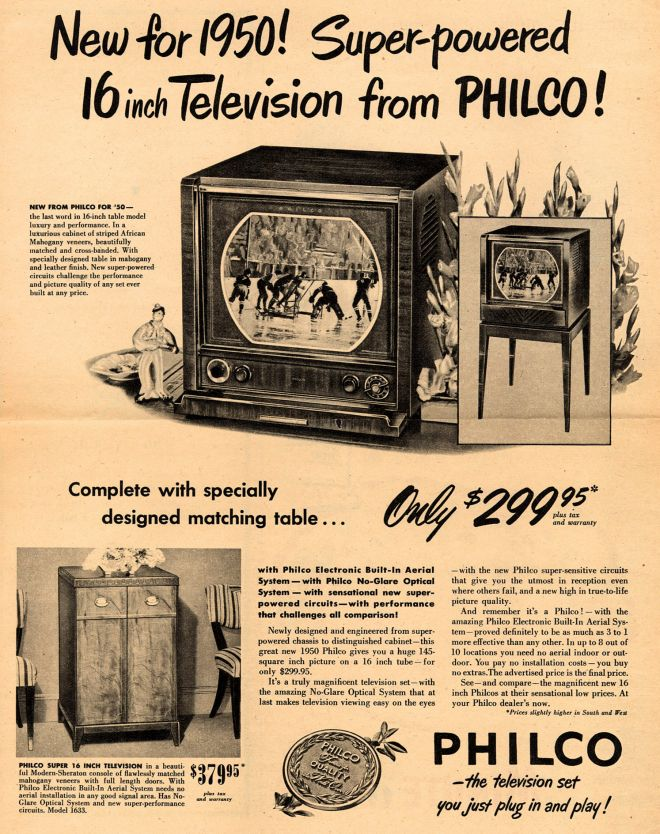 Philco s television new for 1950 super powered 16 inch