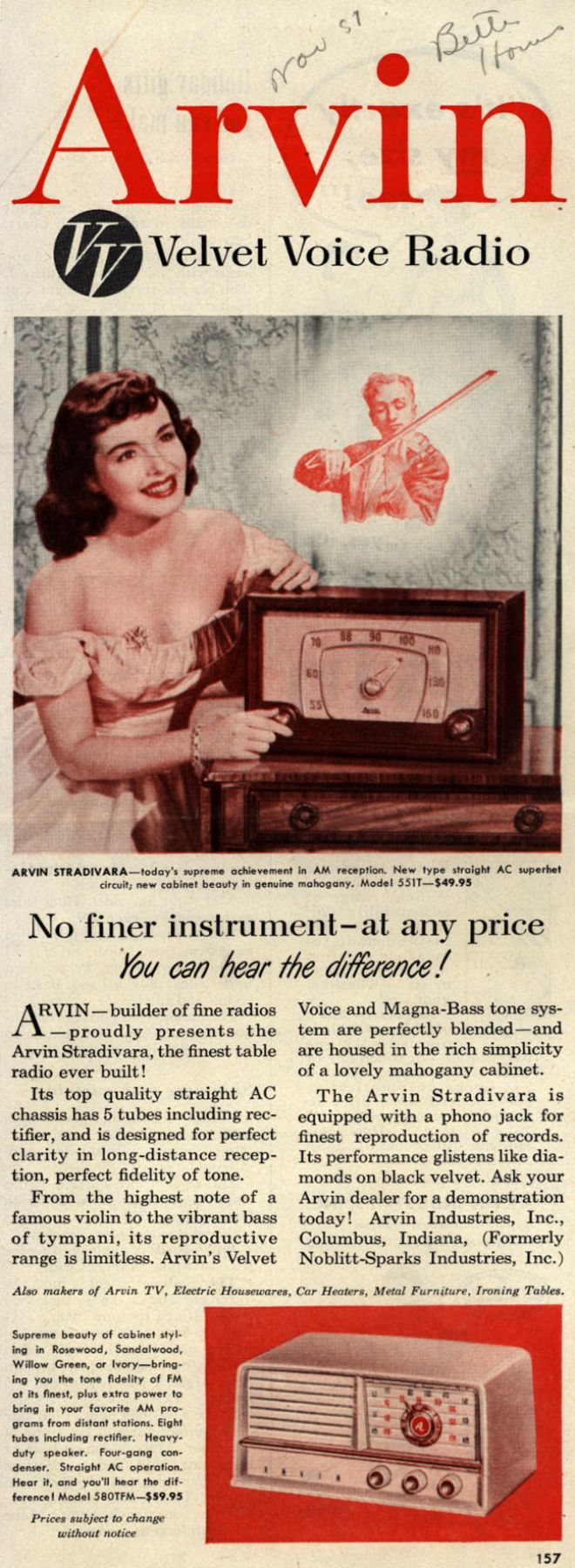 Vintage electronics tv of the 1950s page 20 arvin radios stradivara arvin velvet voice radio publicscrutiny Choice Image