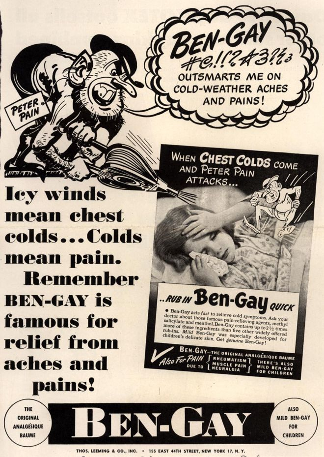 Remember ben-gay is famous for relief from aches and pains. (1945)