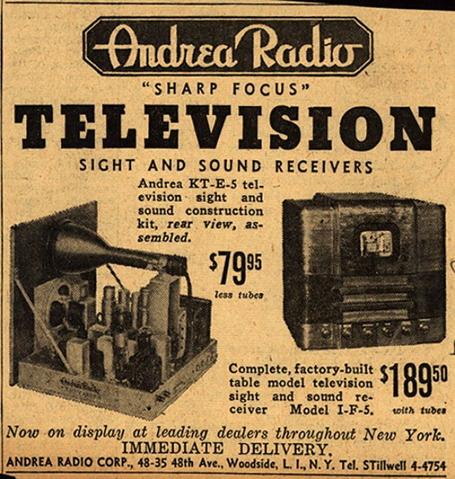 Andrea radio corporation s quot sharp focus quot tv kit amp factory built