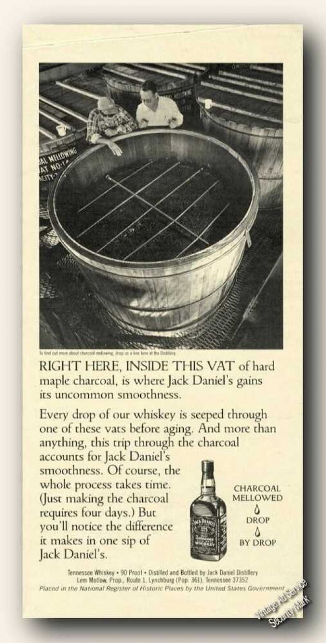 vintage drinks advertisements of the s page  jack daniels vat of hard maple charcoal 1984