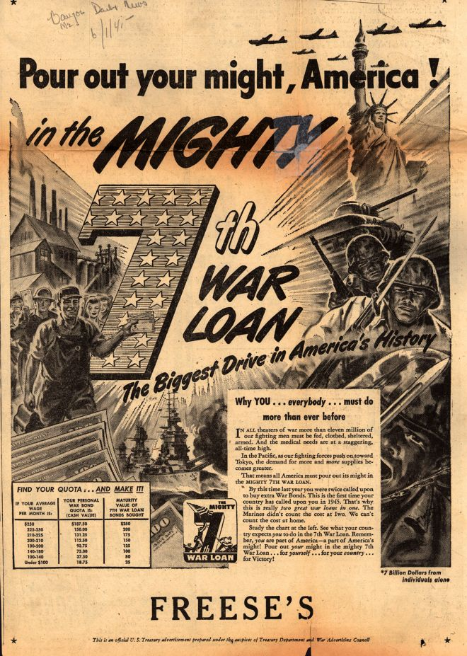 U S Treasury Depts 7th War Loan Pour Out Your Might America