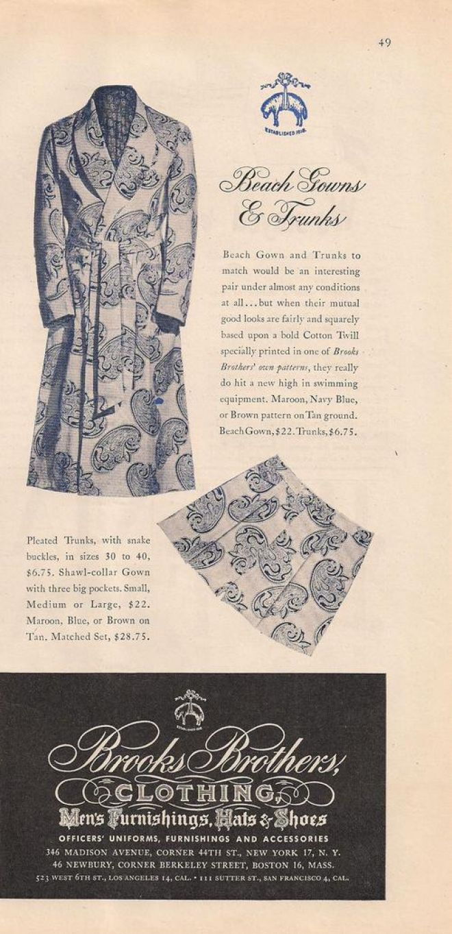 Vintage clothes fashion ads of the 1940s page 22 - Brooks Brothers Mens Night Gown Trunks A 1946