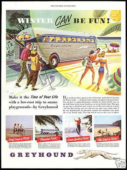 Greyhound Bus Travel Winter Fun (1948)