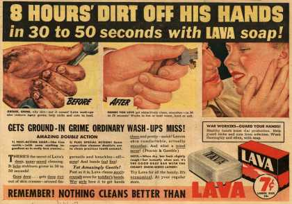 Procter & Gamble Co.'s Lava Soap – 8 Hours' Dirt Off His Hands (1943)