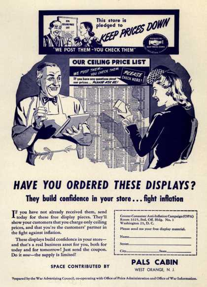 War Advertising Council, Offices of Admin. and War Info.'s Grocer-Consumer Anti-Inflation Campaign (OPA) – Have You Ordered These Displays? (1944)