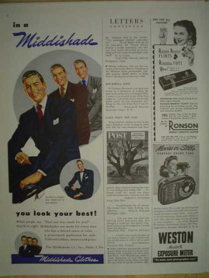 Middishade clothes. Mens suits. You look your best (1945)