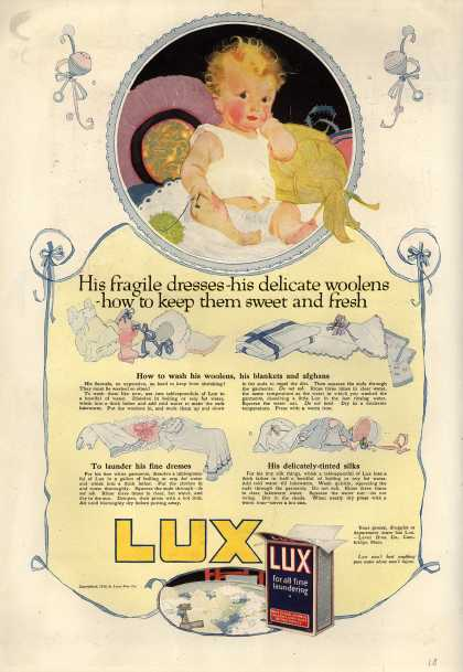 Lever Bros.'s Lux (laundry flakes) – His fragile dresses – his delicate woolens – how to keep them sweet and fresh (1919)