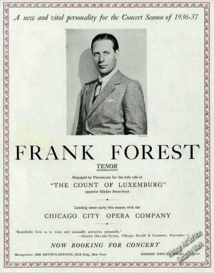 Frank Forest Photo Tenor Movies Opera Concerts (1936)