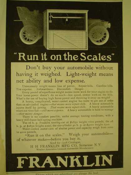 H Franklin Mfg Co Franklin Scales Don't buy your auto without weighing (1908)