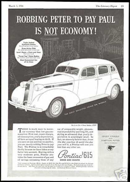 Pontiac Deluxe Six Sedan Vintage Print Car (1936)