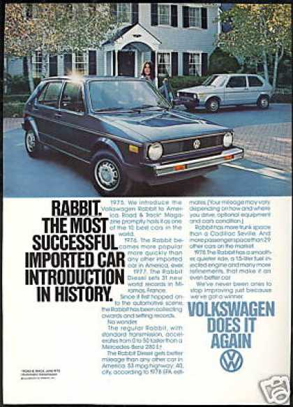 VW Volkswagen Rabbit Car Most Successful (1978)