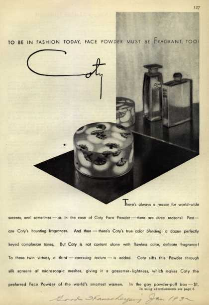 Coty's Face Powder – To Be in Fashion Today, face Powder Must Be Fragrant, Too (1932)