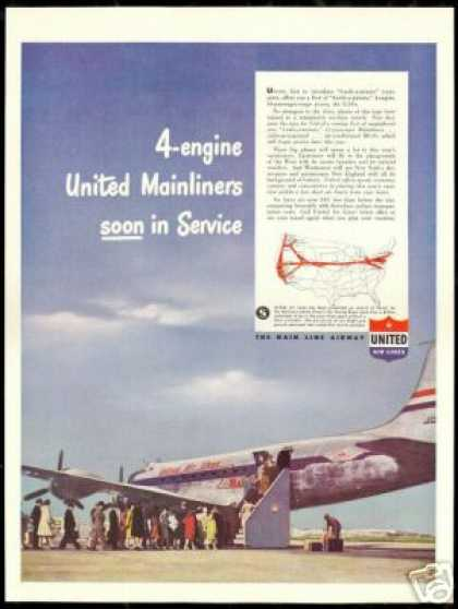 United Airlines Mainliner Plane Photo Vintage (1946)