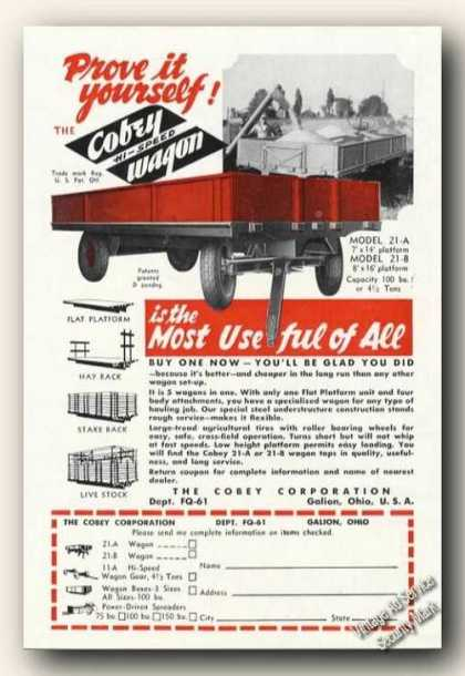Cobey Hi-speed Farm Wagons Advertising (1951)