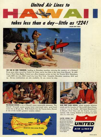 United Air Line's Hawaii – United Air Lines to Hawaii takes less than a day – little as $224 (1953)