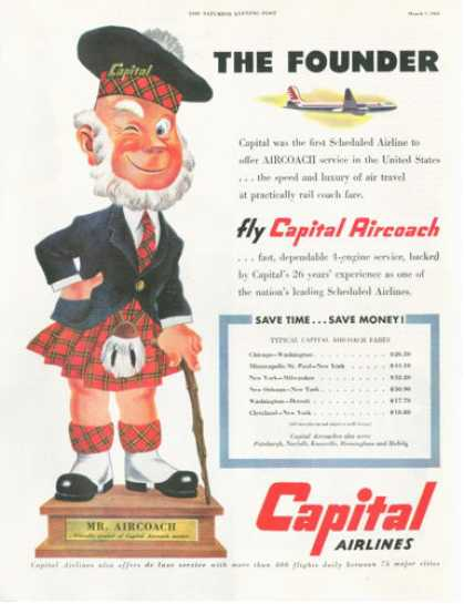 Mr Capital Airlines Plane Ticket Fares (1953)