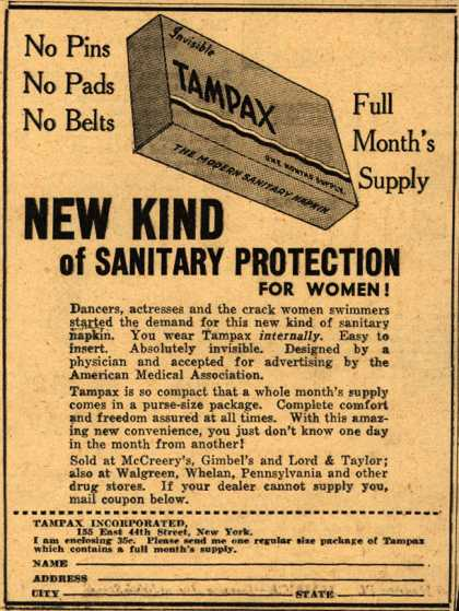 Tampax's Tampons – New Kind Of Sanitary Protection For Women (1938)