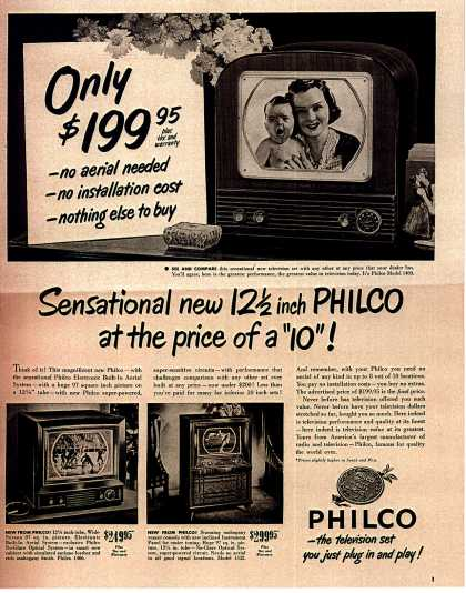 "Philco's Television – Sensational new 12 1/2 inch PHILCO at the price of a ""10"" (1950)"