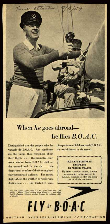 British Overseas Airways Corporation – When he goes abroad-he flies B.O.A.C. (1954)