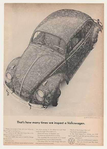 VW Volkswagen Beetle Bug Many Times Inspect (1963)