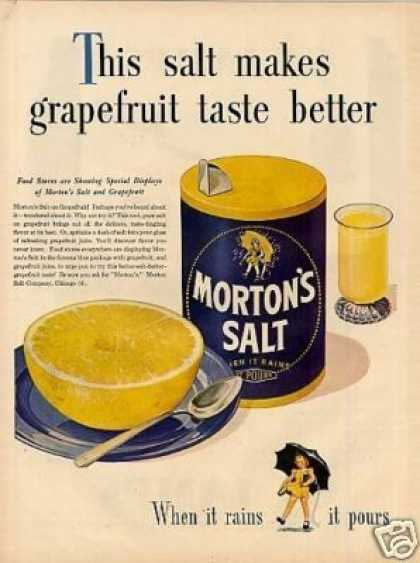 "Morton's Salt Ad ""This Salt Makes Grapefruit... (1946)"