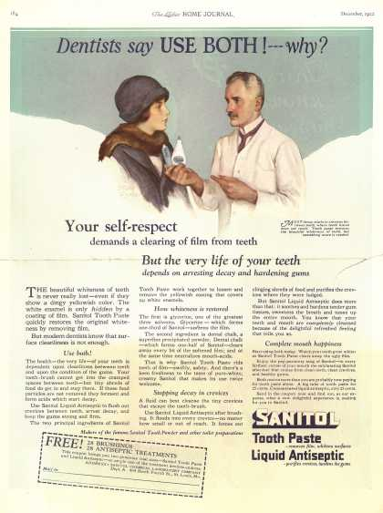 Sanitol Chemical Laboratory Company's Sanitol Tooth Paste and Liquid Antiseptic – Dentists say Use Both! – -why? (1922)